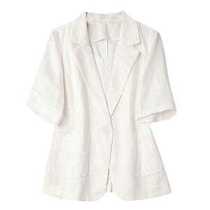 MK988 Women's Short Sleeve Plain Summer Cotton Linen Formal Work Blazer Jacket Suit Coat White S
