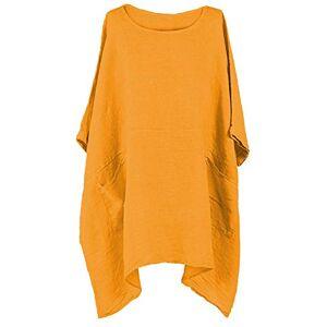 Gracious Girl Women Italian Lagenlook 2 Pocket Boxy Plain Linen Women Tunic Top Plus Size Mustard