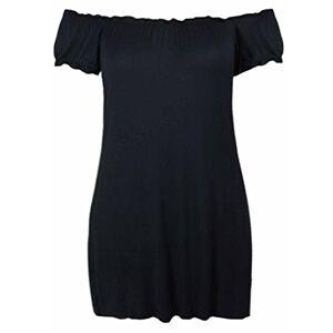 Purple Hanger Ladies New Plain Off Shoulder Boho Womens Elasticated Gathered Long Gypsy Summer Top Black Size 22 24