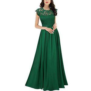 MIUSOL Women's Lace Chiffon Cap Sleeve Long Evening Dress Green X-Large