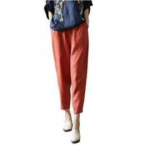 Women's Casual Sweatpants, High Waist Workout Jogger Pants Baggy Trousers, Running Jogging Harem Pants Active Lounge Trousers 4X-Large Orange