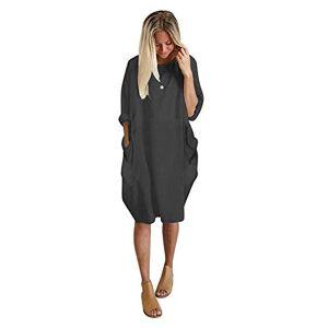 Deloito Womens Pocket Loose Dress, Ladies Crew Neck Casual Long Tops Dress Plus Size (Dark Gray, X-Large)