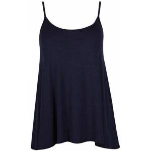 Purple Hanger Curvy Womens Plain Sleeveless Ladies Stretch Round Scoop Neckline Slim Straps Strappy Flared Swing Camisole Vest Top Plus Size Navy Blue Size 18 - 20 (XXL)