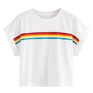 MINGGER Cropped Women's Top Seven-Color Rainbow Print Summer Round Neck Short Sleeve Girl T-Shirt Need T Shirt