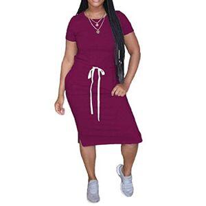 Mstyle-UK Women's Elastic Waist Solid Color Bodycon Short Sleeve Summer Midi T-Shirt Dress 12 S
