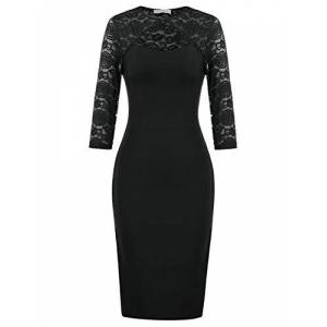 Belle Poque Women's Floral Lace Formal Party 3/4 Sleeves One-Piece Dress Knee Length Black#2177 X-Large