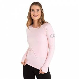 Calvin Klein Womens Vibe Longsleeved Scoop Neck T-Shirt - Pink - L