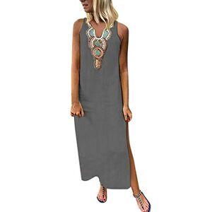Summer Sleeveless Boho Women's Long Dress Retro Printed V-Neck Cotton Linen Beach Sundress for Ladies, UK Plus Size 8-16 (Gray, UK 12)