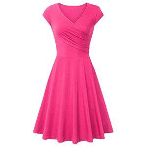 EFOFEI Womens Midi Summer Swing Dress Summer Wrap V Neck Dress Rose XS