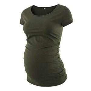 Love2Mi Women's Short-Sleeved Maternity Shirt Maternity Classic Side Ruffled T-Shirt Tops Mum Pregnancy Clothing - Green - Medium