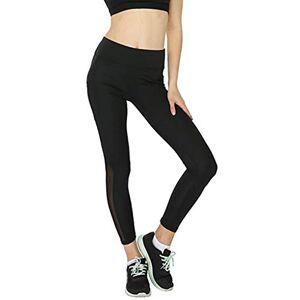 HOOUDO Women Leggings Yoga Mesh Patchwork Yoga PantsFull Length Stretch Sport Gym Trousers Tights with Pockets Black