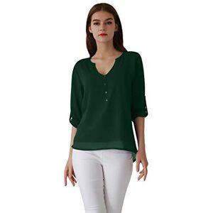OMZIN Women's Casual Chiffon Summer Blouse V Neck Short Sleeve Top Shirts Green XS
