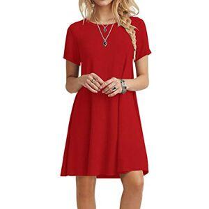 POPYOUNG Women's Short Sleeve T Shirt Dresses Summer Casual Swing Dress XS-Red