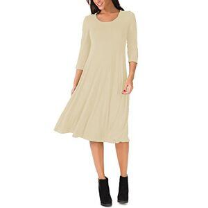 UR Angel Women Casual 3/4 Sleeve A-line Flare Midi Long Plain Simple Dress Beige 14