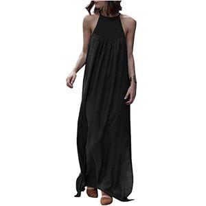 VONDA Women Halter Neck Summer Maxi Dress Loose Plain Long Shirt Dress Sleeveless Casual Beach Dresses Black 2XL (UK 18)
