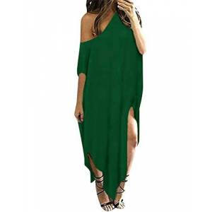 KIDSFORM Women's Off Shoulder Maxi Dress Solid Casual Loose Oversized Beach Cover Up Side Split Sundress G-Dark Green Size L/UK 16