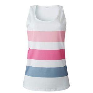 Moonuy Women's Summer Round Neck Vest Sleeveless Striped Casual Slim T-Shirt Simple Tank Summer Top Pink