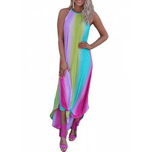 LOSRLY Womens Sleeveless Tie Dye Rainbow Print Dress Chic Summer Dresses Sundress 2020 Maxi Dress