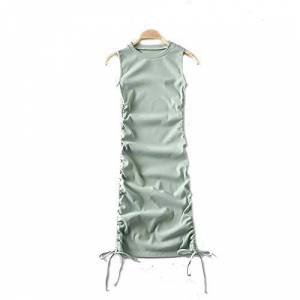 Summer Solid Casual Vacation Slim Dress Women Knitting O Neck Sleeveless Fashion Skinny Lady Mini Wrap Dress 2020 New Beige