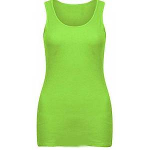 Elegant Vaps Women Sleeveless Rib Vest Top Women Plain Summer T Shirt Cotton Tops Plus Size (UK 22-24, Neon Lime)