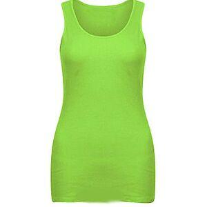 Elegant Vaps Women Sleeveless Rib Vest Top Women Plain Summer T Shirt Cotton Tops Plus Size (UK 22-24, Neon Lime)