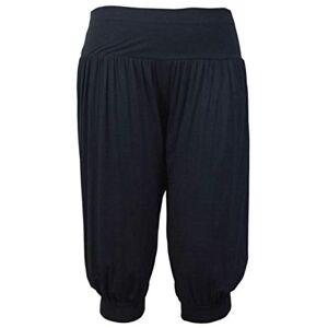 Purple Hanger Womens Plain 3/4 Shorts Ladies Ruched Gathered Baggy Ali Baba Cropped Stretch Elasticated Waistband Trousers Leggings Harem Hareem Pants Plus Size Black Size 18 - 20 (XXL)