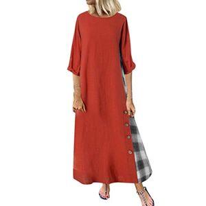 Women's Summer Boho Dress Plus Size S-5XL Baggy Casual V Neck Split Dress Vintage Ethnic Floral Cotton Linen Beach Sundress Loose Sleeveless Long Maxi Kaftan Dresses (Orange - A, 5XL)