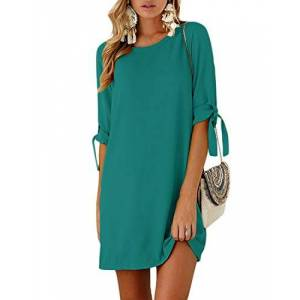 YOINS Women Summer Dresses Solid Mini Dress Shirts Self-tie Tunic Tops Short Sleeves Round Neck Blouses T Shirt Dresses Army Green X-Small