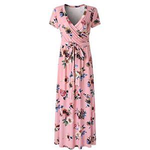 CLOUSPO Summer Dress Women's Short Sleeve V Neck Maxi Dresses Long Dresses Beach Dresses - Multicolour - Medium