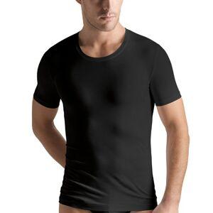 Hanro - Mens Hanro Men's Cotton Superior Short Sleeve Crew Neck Shirt - Black - Medium