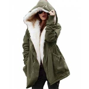 Roiii New Women Winter Warm Casual Parka Faux Fur Black Jacket Hooded Coat Size 8-20 (20, Green White)