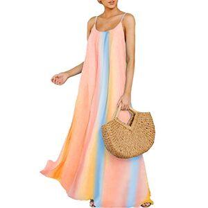 ZANZEA Women's Summer Dress Casual Loose Strappy Sleeveless Rainbow Sundress Beachwear Kaftan Cover Up Bohemian Dresses 0001-yellow Large 14