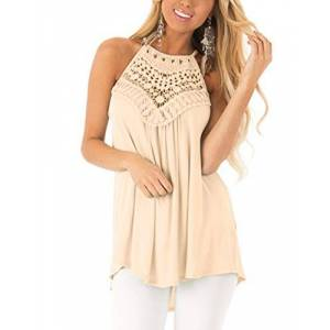 CNFIO Women Summer Halter Neck Tops Casual Sleeveless Vest Hollow Out Tank Blouse Shirts Beige-1 Large/UK 14