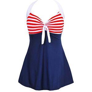 BOZEVON Women's Plus Size Swimwear - Vintage Halter Neck One-Piece Swimdress, White-Red-Blue/(UK 22-24) 2XL