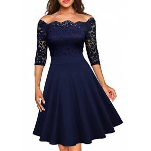 MISSMAY Womens Floral Lace Boat Neck A-Line Cocktail Dress Navy Blue X-Large