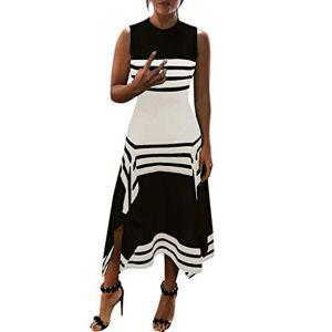 pitashe Womens Dresses Size 6 8 10 12 14 16 18 20 Women Stripe Sleeveless Casual Dress Women Round Neck Vestido Midi Party Dresses 1950's -2020's