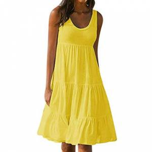 Tosonse Summer Beach Dresses for Women Solid Color Sleeveless Party Midi Dress Yellow