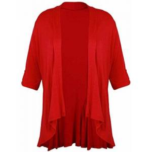 Purple Hanger New Ladies Short Sleeve Plus Size Open Waterfall Cardigan Womens Plain Stretch Fit Top Red Size 18