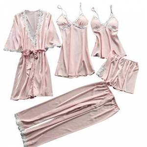 Pongaps Women Casual V-Neck Pajamas Lace Nightdress Half Sleeve Nightgown Set Pyjama Sets Watermelon Red