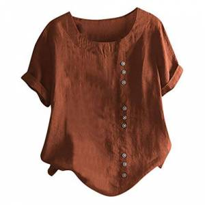 CUTUDE Boho Print T Shirts, Ladies Plus Size Short Sleeve Tops Button Linen Tee Casual Blouse Loose Vest Summer (Brown, M)