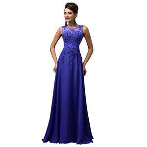GRACE KARIN Women Prom Chiffon Long Evening Dress Blue Size 26 CL7555-6