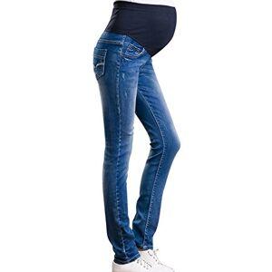 Zhuhaixmy Women Maternity Comfy Stretchy Pants Leggings Waistband Jeans Over The Bump Dark Blue