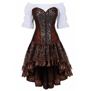 Steampunk Leather Corset 3 Piece Outfits for Women Bustiers Gothic Lace Pirate Skirt Retro White Blouse Set Brown 6XL