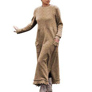 Jie1022gorge6639 Women's Dress, Fashion Women Round Neck Long Sleeve Pullover Lace Loose Large Size Dress, Clothes Women (3XL Khaki)