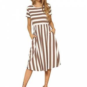 Gofodn Dresses for Women Sexy Evening Party Dress Summer Casual Striped Sleeveless Crew Neck Linen Pocket Long Dress (P-Coffee, XL)