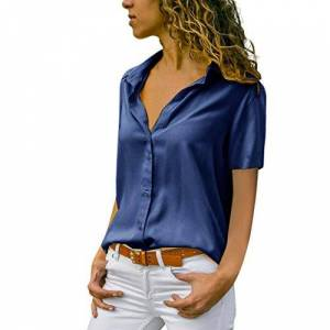 NEEDRA SALES Blouses Shirts Women V Neck Ladies Blouse Work Office Workwear Shirt Silk Chic Long Sleeve Casual V Neck Elegant Office Woman Tops Blouse (Navy Short Sleeve, UK 22 (XXXXXL))