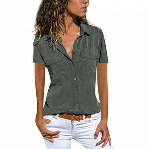 Women Shirt TUDUZ Ladies Casual V Neck Roll Long Sleeve Solid Color Button Down Shirt Blouse Tops(T Gray,4XL=UK(22))