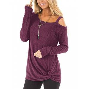 BeLuring Ladies Cold Shoulder Tops Long Sleeve Going Out Tops Maroon Size 22 24