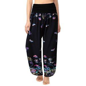 Toamen Women's Elastic Waist Harem Pants Sale Comfy Stretch Floral Print High Waist Palazzo Wide Leg Trousers Yoga Sports(Multicolor 12, XL)