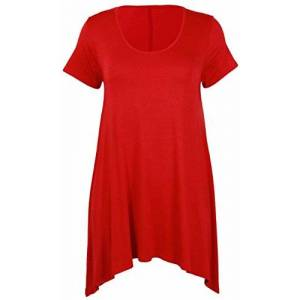 Purple Hanger Womens New Plain Uneven Dipped Hem Round Scoop Neck Ladies Short Sleeve Stretch Fit T-Shirt Top Red Size 18